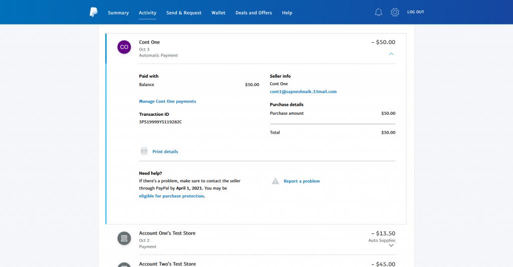 PayPal Transaction